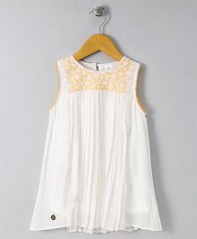 Bee Born Flower Print Dress - White