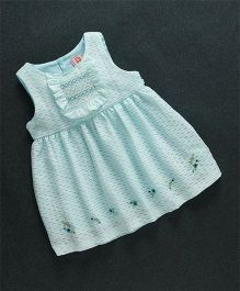 Sunny Baby Flower Print Sleeveless Dress - Light Blue