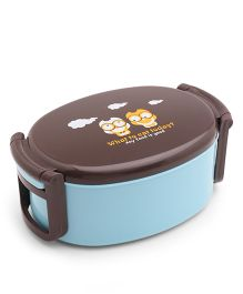 Oval Shaped Lunch Box Owl Print - Blue Brown
