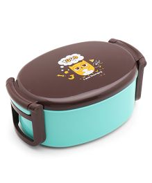 Oval Shaped Lunch Box Owl Print - Sea Green Brown
