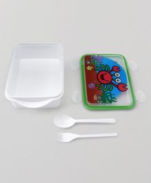 Rectangle Shaped Lunch Box With Fork And Spoon - White