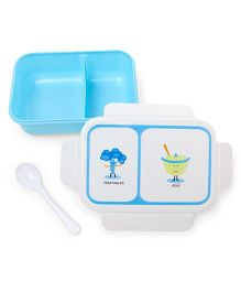 Rectangular Shaped Lunch Box With Spoon - White Blue