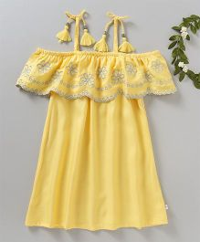 Babyoye Off Shoulder Frock Floral Embroidered - Yellow