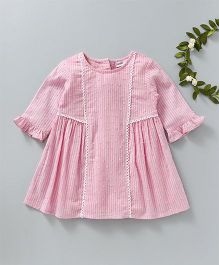 Babyoye Long Sleeves Frock Striped - Pink