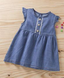 Baby Pep Front Button Dress - Blue