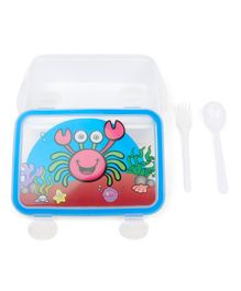 Rectangle Shaped Lunch Box With Fork And Spoon - White Blue