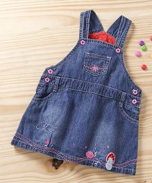 Baby Pep Dungaree Flower Print - Blue & Red