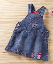 Baby Pep Dungaree Flower Print - Blue & Pink