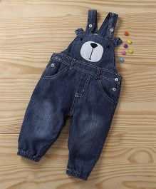 Baby Pep Bear Face Baby Dungaree - Dark Blue
