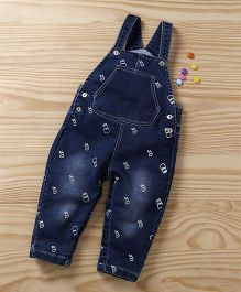 Baby Pep Bottle Print Baby Dungaree - Blue