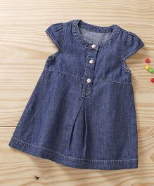 Baby Pep Denim Front Button Frock - Blue