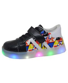 Passion Petals Printed Shoes- LED - Black
