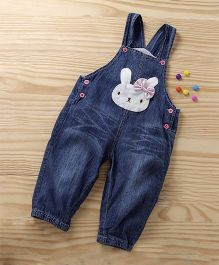 Baby Rabbit Face Print Baby Dungaree - Blue