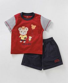 Child World Half Sleeves T-Shirt And Shorts Bear Patch - Red
