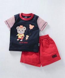 Child World Half Sleeves T-Shirt And Shorts Bear Patch - Navy Blue