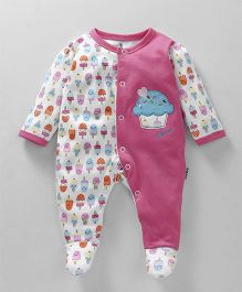 Child World Full Sleeves Sleep Suit With Cupcake Patch - Pink