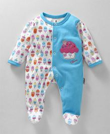 Child World Footed Sleep Suit With Cupcake Patch - Blue