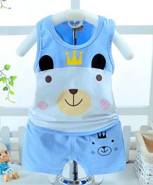 Superfie Sleeveless Doggy Printed Set - Blue