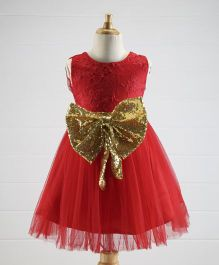 Superfie Lace Yoke & Big Sequin Bow Party Dress - Red