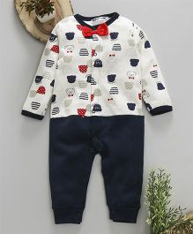 Superfie Teddy Face Romper With Bow - Blue & White