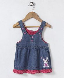 Baby Pep Sleeveless Dress with Bunny Embroidery - Blue