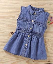 Baby Pep Denim Front Buttoned Frock - Blue
