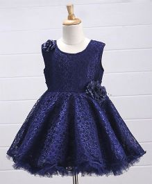 Babyhug Embroidered Net Party Frock Floral Corsage - Navy