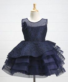 Babyhug Embroidered Net Layered Party Frock Floral Corsage - Navy