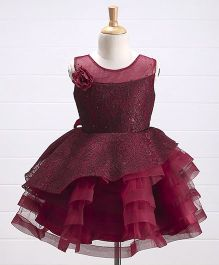 Babyhug Embroidered Net Layered Party Frock Floral Corsage - Maroon