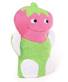 Strawberry Shape Bath Gloves - Green Pink