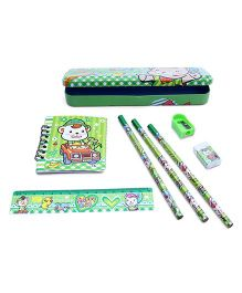 Stationery Set Teddy Print Green - 8 Pieces