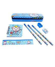 Stationery Set Teddy Print Blue - 8 Pieces