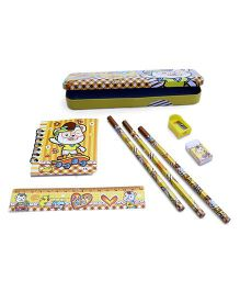 Stationery Set Teddy Print Yellow - 8 Pieces