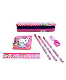 Stationery Set Teddy Print Pink - 8 Pieces