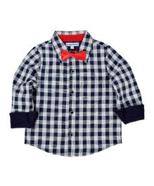 CrayonFlakes Checks Full Sleeves Shirt With Bow Tie - Navy Blue, White & Red