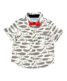 CrayonFlakes Whale Print Half Sleeves Shirt With Bow Tie - Grey, White & Red