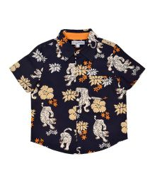 CrayonFlakes Tiger & Floral Printed Half Sleeves Shirt - Navy Blue