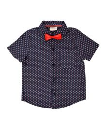 CrayonFlakes Dot Printed Half Sleeves Shirt With Bow Tie - Navy Blue & Red