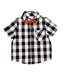 CrayonFlakes Checks Half Sleeves Shirt With Bow Tie - Black, White & Red