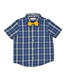 CrayonFlakes Checks Half Sleeve Shirt With Bow Tie - Royal Blue & Yellow