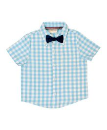 CrayonFlakes Small Checks Half Sleeve Shirt With Bow Tie - Light Blue