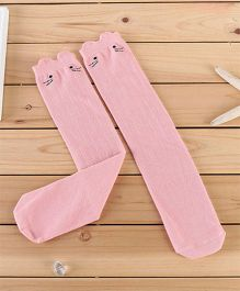 Flaunt Chic High Knee Cat Stockings - Pink