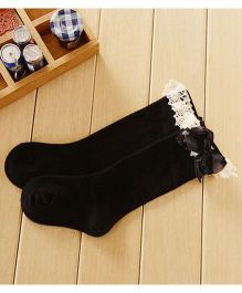 Flaunt Chic Lace Border Party Stockings - Black