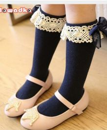 Flaunt Chic Lace Border Party Stockings - Blue