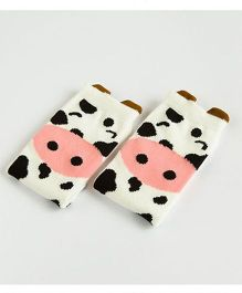 Flaunt Chic Cow Printed Stockings - White