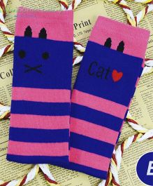 Flaunt Chic Cat Print Stripes High Knee Stockings - Blue