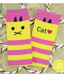 Flaunt Chic Cat Print Stripes High Knee Stockings - Yellow