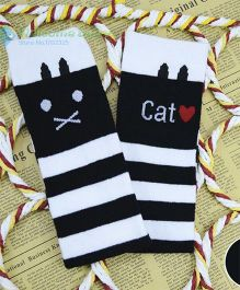 Flaunt Chic Cat Stripes High Knee Stockings - Black