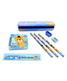 Stationery Set Bear Print Light Blue - 8 Pieces