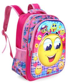 School Bag Smiley Print Pink - 14.9 Inches